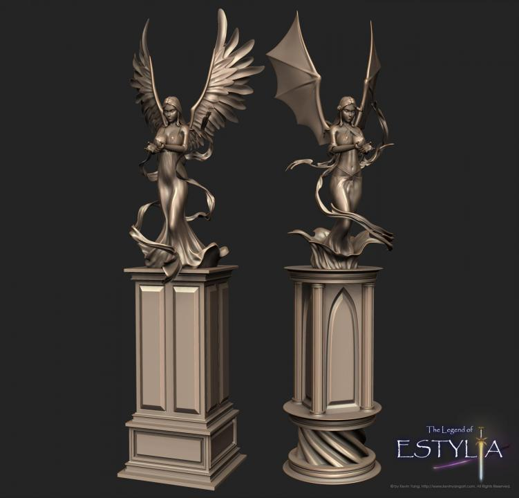 Angel and devil statues by orrochi d412fyz 2